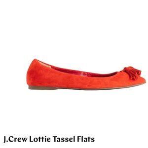 J Crew Lottie Tassel Flats in Suede Ripe Papaya
